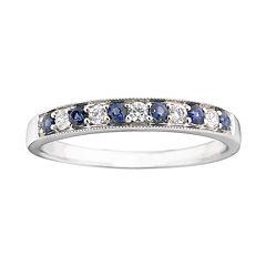 I Said Yes™ 1/8 CT. T.W. Certified Diamond & Blue Genuine and Lab Created Sapphire Milgrain Band