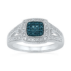 Womens Genuine Blue Diamond Accent Sterling Silver Cocktail Ring