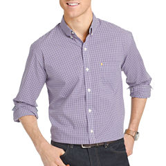 IZOD Advantage Stretch Slim Fit Long Sleeve Gingham Button-Front Shirt