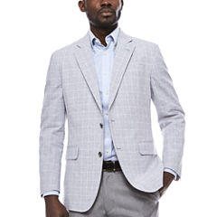 Stafford Linen Cotton Quite Charcoal Plaid Sport Coat- Classic Fit