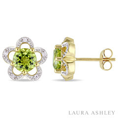 Laura Ashley Diamond Accent Round Green Peridot 10K Gold Stud Earrings