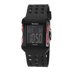 Armitron® Mens Black Strap Watch 49/1025REDJ