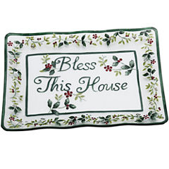 Pfaltzgraff® Winterberry Bless This House Clear Glass Platter