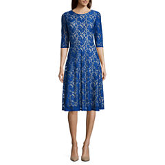 Melrose 3/4-Sleeve Lace Fit-and-Flare Dress