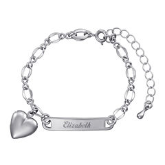 Personalized Silver over Brass Girls Engraved ID with Heart Charm Bracelet