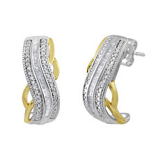 1/4 CT. T.W. Diamond Hoop Earrings in Sterling Silver and 14K Yellow Gold Accent