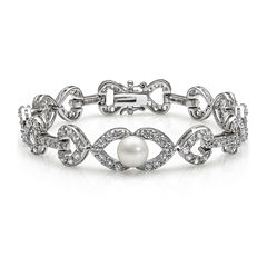 Cultured Freshwater Pearl and Cubic Zirconia Bracelet