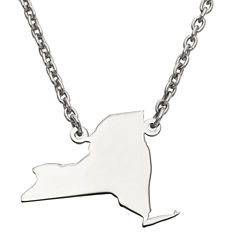 Personalized Sterling Silver New York Pendant Necklace
