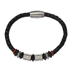 Inox® Jewelry Mens Stainless Steel Bead & Black Leather Bracelet