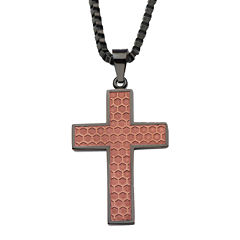 Stainless Steel Honeycomb Cross Pendant Necklace
