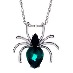 Genuine Black Onyx and Simulated Emerald Spider Pendant Necklace
