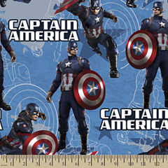 Captain America Star Cotton Fabric By The Yard