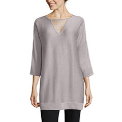 By Artisan Long Sleeve V Neck Pullover Sweater