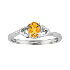 Womens Genuine Yellow Citrine Sterling Silver Solitaire Ring