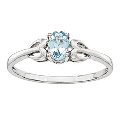 Womens Blue Aquamarine Sterling Silver Delicate Ring