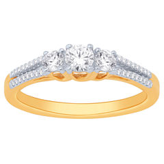 Love Lives Forever Womens 1 CT. T.W. Genuine Round White Diamond 14K Gold Engagement Ring