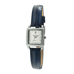 Peugeot® Womens Crystal-Accent Blue Leather Strap Petite Watch