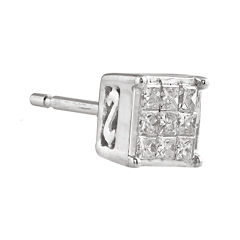 1/8 CT. T.W. Diamond 10K White Gold Half Stud Earring
