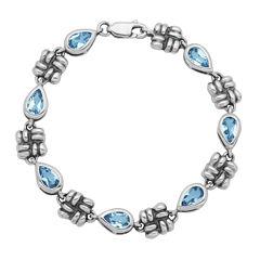 Genuine Sky Blue Topaz Oxidized Sterling Silver Line Bracelet
