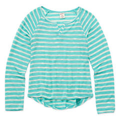 Arizona Long Sleeve Graphic Sweater Knit Top - Girls' 7-16 and Plus