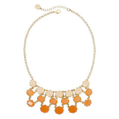 Liz Claiborne® Peach Stone Gold-Tone Bib Necklace