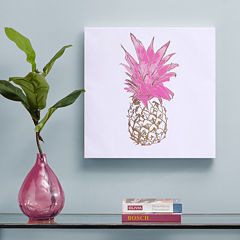 Intelligent Design Gold Pineapple Foil Embellished Canvas Art