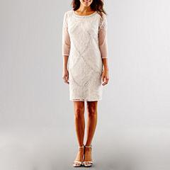 Prelude 3/4 Sleeve Sequin Wedding Dress