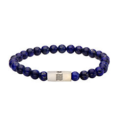 Mens Simulated Lapis Stainless Steel Stretch Bracelet