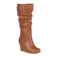 Journee Collection Hana Wide Calf Womens Slouch Wedge Heel Boots