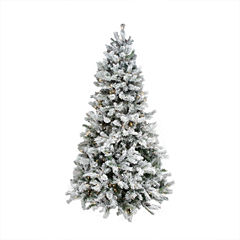 9' Pre-Lit Flocked Victoria Pine Multi-Function LED Artificial Christmas Tree with Remote Control -Clear/Multi