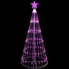 4' Pink LED Light Show Cone Christmas Tree LightedYard Art