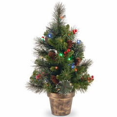 National Tree Co. 2 Foot Crestwood Spruce Small Potted Pre-Lit Christmas Tree