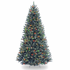 National Tree Co 7.5 Feet North Valley Spruce Blue Hinged Pre-Lit Christmas Tree
