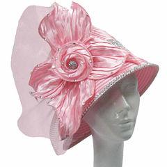 Whittall & Shon Derby Hat Cloche W Pleated Anemone Flower