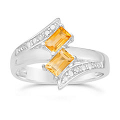 Womens Genuine Yellow Citrine Sterling Silver Bypass Ring