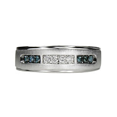 Mens 1/4 CT. T.W White & Color-Enhanced Blue Diamond 10K White Gold Wedding Band