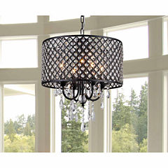 Warehouse Of Tiffany Monet 4-lights Black-finished17-inch Crystal Round Chandelier