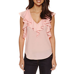 Bisou Bisou Ruffled V-neck Top