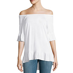 a.n.a. CONVERTIBLE COLD SHOULDER PEPLUM TOP