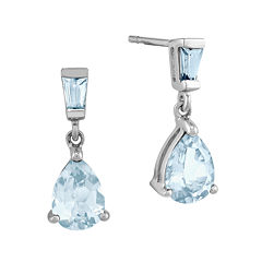 Genuine Aquamarine 14K White Gold Post Dangle Earrings