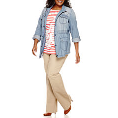 St. John's Bay® Chambray Anorak And 3/4 Sleeve Lace Applique Tee And Bi-Stretch Pant - Plus