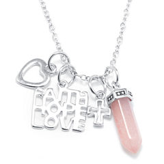 Silver Reflections™ Rose Quartz Silver-Plated Love, Heart & Cross Pendant Necklace