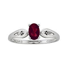 Genuine Garnet and Diamond Accent 14K White Gold Ring