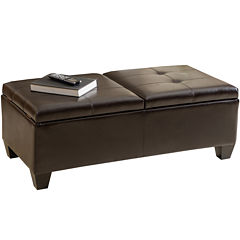 Dakota Bonded Leather Storage Ottoman