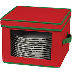 Household Essentials® Red Holiday Dinner Plate Storage Chest