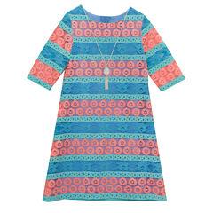 Rare Editions 3/4 Sleeve Skater Dress - Preschool Girls