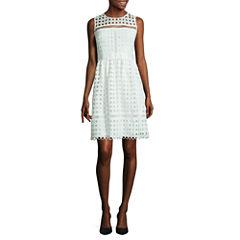 Worthington Sleeveless Lace Fit & Flare Dress-Petites