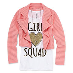 Total Girl Graphic Tank w/ Moto Jacket and Necklace - Girls' 7-16 & Plus