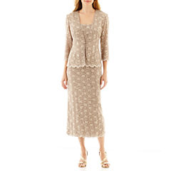 R&M Collection 3/4-Sleeve Sequin Lace Jacket Dress