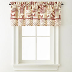 Home Expressions Rooster Round Up Rod-Pocket Tailored Valance